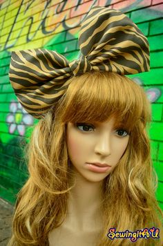 Brown/Chocolate Zebra oversized bow headband/hair by SewingitAU