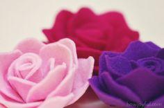 Rosas de feltro com molde! | Artesanato & Humor de Mulher