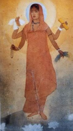 'Bharat-Mata' ('Mother-India'); Painting by  Abanindranath Tagore, India, 1905 --'Bharat-Mata' - Symbol of the Nation: India was aware as a nation with very strong nationalism. This painting of Mother India imitates the traditional form of Hindu Goddess. She has four arms, carrying the symbols of the way to modernize the nation by improving food, clothing, knowledge and spirituality. Here, the subject of modern national identity is drawn in a traditional Indian-form.