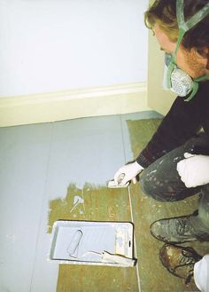 Painting Floors great idea for sub-flooring between ripping up carpet, and