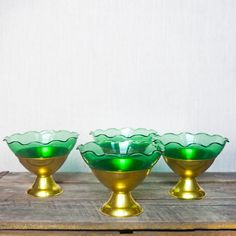 Vintage Green Glass Bowls - Set of 4 - Dessert . Starting at $9 on Tophatter.com!