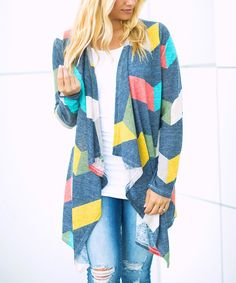 Take a look at this Blue & Yellow Chevron Drape-Front Open Cardigan - Women & Plus today!
