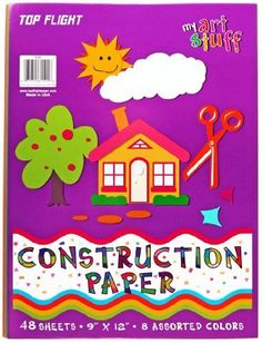 Top Flight Construction Paper, Assorted Colors, 9 x 12 Inches, 48 Sheets, Polywrapped (61101) by Top Flight. $15.73. Top Flight construction paper comes in a 9 x 12 inch paper size, suitable for a wide variety of arts and crafts. Suitable for artists young or old. There are no limits to what you can create with this high-quality construction paper! Available in a polywrapped package of 48 sheets in assorted colors. Top Flight Incorporated has been in business for over 80 yea...