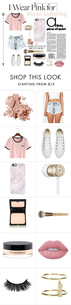 """Wear pink."" by rhiannonpsayer ❤ liked on Polyvore featuring Bobbi Brown Cosmetics, Converse, Casetify, Beats by Dr. Dre, Kevyn Aucoin, MAC Cosmetics, Lime Crime and Ileana Makri"