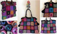 love this crochet bag with self striping yarn.