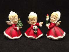 Vintage Napcoware Christmas Angels Set of 3 X-6984 Hand Painted 1950s - pinned by pin4etsy.com