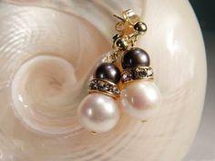 Ohrschmuck für die Braut: Klassische Perlen zweifarbig  | Perlotte Schmuck