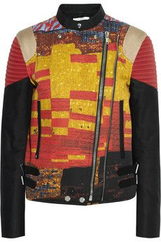 Givenchy Ribbed cotton-gabardine biker jacket with mosaic pixel print | NET-A-PORTER