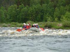 Ivalo-river safari on gummiboats. End of June 2011. When the sun shines 24 hours. Saariselkä-area. Finnish Lapland.