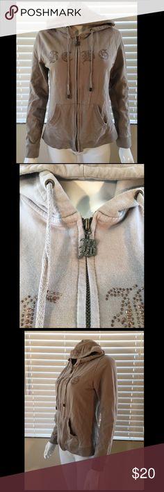 "BCBG Max Azria BLING RHINESTONE Hoodie Jacket Sz L bust 18.5"" length 21"" sleeve 23"" BCBGMaxAzria Jackets & Coats"