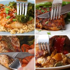 These 6 one-pan chicken dinners are gonna save you so. Healthy Grilling Recipes, Grilled Steak Recipes, Cooking Recipes, Pan Cooking, One Pan Chicken, One Pan Dinner, Quick Meals, Simple Meals, Fast Dinners