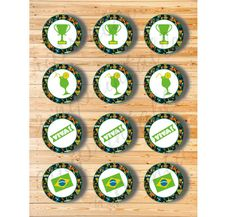 Three Digital Files  Cupcake Topper Brazil Set by AiniPrintables