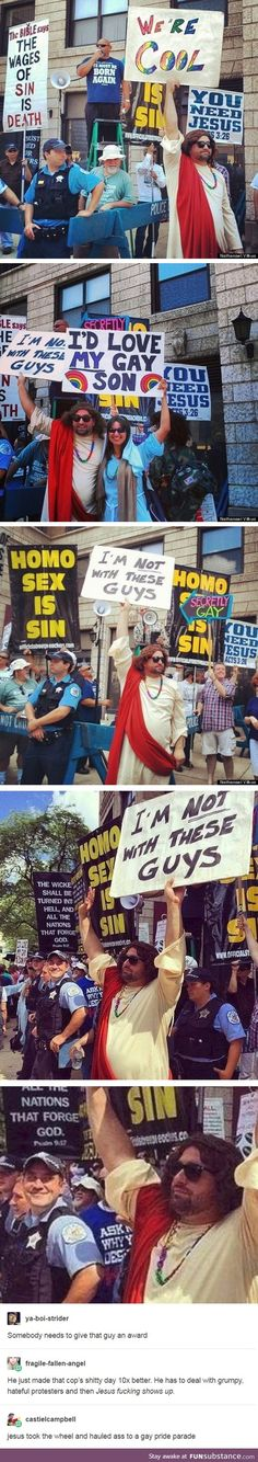 Oh Jesus christ. Gay pride parade. Homophobic protestors.