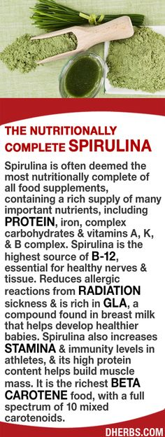 Spirulina is often deemed the most nutritionally complete of all food supplements, containing a rich supply of nutrients including protein, iron, complex carbs & vitamins A, K, & B complex & is the highest source of B12, essential for nerves & tissue. Reduces allergic reactions from radiation sickness & is rich in GLA, (found in breast milk). It increases stamina & immunity levels in athletes, & its high protein helps build muscle mass. It is the richest beta carotene food.