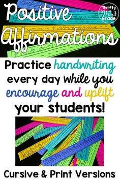 These positive affirmation sentences are a great way to practice handwriting skills, both print and cursive. At the same time, you are instilling a positive growth mindset in your classroom. Your students will love them! Just one sentence a day can bring Handwriting Without Tears, Handwriting Activities, Improve Your Handwriting, Improve Handwriting, Handwriting Practice Sentences, Cursive Handwriting, Cursive Letters, Teaching Cursive, Teaching Grammar
