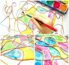 Yarn art is all about the fun, mess… Fabulous open-ended kids process art project.Yarn art is all about the fun, messy hands, the freedom to create. A great art project for preschoolers!