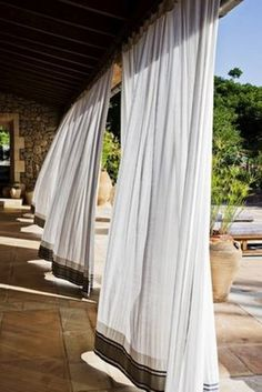 Outdoor Patio Curtains Ideas...This Next To A Pool Would Make Me Feel