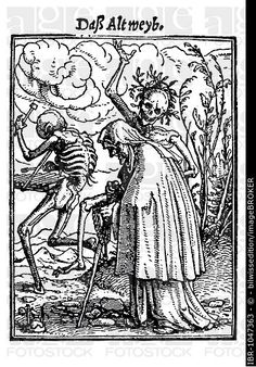 Woodcut, The Old Woman, Hans Holbein the Younger, Dance of Death, 1538.
