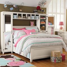 PB Teen Hampton Storage Bed & Vanity Tower Set, Bed, Hutch, Left &... ($3,595) ❤ liked on Polyvore featuring home, furniture and beds