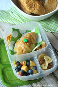 Mini croissant sandwich  Lunchbox ideas from FamilyFreshMeals.com  | packed in an @EasyLunchboxes container