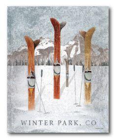 Courtside Market 'Winter Park, CO' Wrapped Canvas Vintage Ski, Vintage Posters, Ski Lodge Decor, Winter Illustration, Ski Posters, Park Art, Snow Skiing, Winter Park, Rocky Mountain National Park