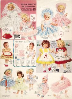 Vintage bride toddler and baby dolls including Tiny Tears Christmas Catalogs, Christmas Toys, Vintage Christmas, Old Dolls, Antique Dolls, Vintage Girls, Vintage Toys, Doll Patterns, Vintage Patterns