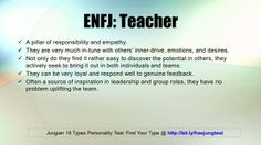 ENFJ: Teacher -- Jung 16 Personality Types Test Results