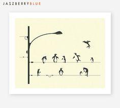 PINGOUINS sur un fil, Giclée Print Fine Art, Minimal, Pop-surréalisme pour la décoration d'intérieur