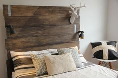 Recycled look bed head INCLUDING HIDDEN SHELVING by NORDICWILLOW, $550.00