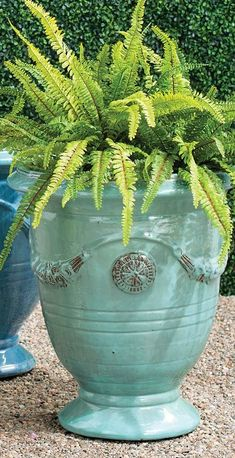 Urn-shaped and adorned with garlands and medallions, these hand-glazed ceramic planters are a staple in French gardens. With the special nature of the reactive glaze, the Azure finish displays a range of variation in tone from soft aqua and turquoise to deep azure. Each planter will appear inherently unique. Our Anduze Indoor/Outdoor Planters can stand alone as pottery pieces or complement your chosen plantings. Succulent Plants, Planting Succulents, Outdoor Planters, Indoor Outdoor, Ceramic Planters, Planter Pots, Aqua, Turquoise, Garden Oasis