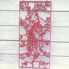 Red Peacock Wall Hanging red decor red bedroom decor cast iron wall decor cast iron wall art red office decor Upcycled Recycled Repurposed