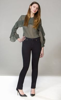 The Chloe jeans are slim through the hip and thigh with a straight leg. Slim Classic Rise Inseam Available in sizes 24 to 34 Made in Canada Our model is and is wearing a size Size Chart Black Yoga, Slim Jeans, Pitch, Chloe, Thighs, Black Jeans, Legs, Model, How To Wear
