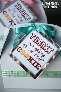 bunch of teacher appreciation ideas remember at Christmas to decorate cake carrier with cookies