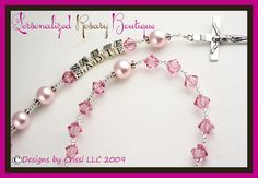 Personalized Rosary Pink, Baptism Christening First Communion Confirmation Religious Gift