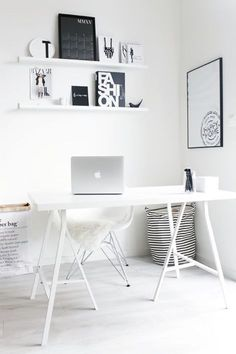 Minimal Workspace Interior #monochtome #minimalworkspace #deskgoals Instagram: @fromluxewithlove #homeofficeideas