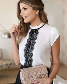 Swans Style is the top online fashion store for women. Shop sexy club dresses, jeans, shoes, bodysuits, skirts and more. Mode Outfits, Office Outfits, Work Fashion, Fashion Looks, Fashion Design, Blouse Styles, Blouse Designs, Lingerie Look, Work Attire