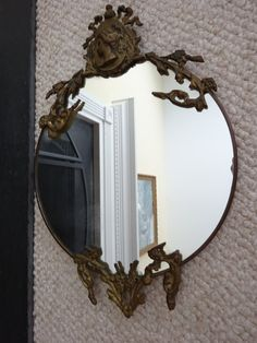 Ornate Vintage Mirror with Metal Cameo Profile Portrait Details - Hollywood Regency Style