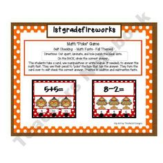 Math Poke Game...Fall Theme product from 1stgradefireworks on TeachersNotebook.com