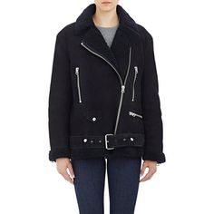 """Acne Studios Shearling """"More"""" Moto Jacket (10 585 PLN) ❤ liked on Polyvore featuring outerwear, jackets, blue, oversized jacket, shearling jacket, shearling motorcycle jacket, shearling moto jacket and biker jacket"""