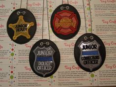 Pretend Police Officer, Correction Office, Deputy, Firefighter, Pilot, Trooper, Super Trooper Badge Necklace Educational Play Party Favor by TinyCrafts on Etsy Dress Up Closet, Super Troopers, Pretend Play, Burp Cloths, Police Officer, Baby Hats, Firefighter, Party Favors, Badge
