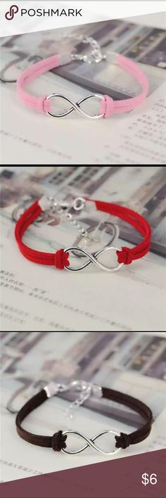 100% Leather Infinity Bracelet Infinity Bracelet with 100% Leather, adjustable clasp. Available in pink, red, dark brown, and gray. Other colors are available and you can place an order. Please Specify the color! Jewelry Bracelets