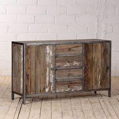 Bahut 3 portes Koroco de style industriel en bois et métal pas cher ...