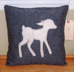 Felt Deer Pattern | Lost Deer, Wool Pillow with Felt Applique and Hand-Stitching, Woodland ...