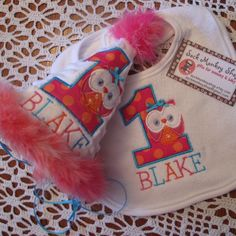 Owl, Personalized  Appliqued First Birthday Hat and Bib Set | sockmonkeyshop - Children's on ArtFire