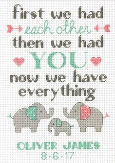 Welcome a new arrival into your family with this meaningful quotation themed birth record kit from Dimensions. Comes with lovely elephant details and. Elephant Cross Stitch, Cross Stitch Alphabet, Cross Stitch Samplers, Counted Cross Stitch Patterns, Cross Stitch Embroidery, Cross Stitching, Baby Cross Stitch Patterns, Cross Stitch Baby, Stitching Patterns