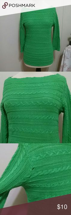 Kelly Green Chaps Boatneck Sweater Super classy in a cheerful color, this sweater is sure to please and become a favorite in your wardrobe! Timeless boat neck style on this cable knit sweater with three quarter length sleeves. Small hole on back of left sleeve as indicated on pic three. I have been meaning to mend but then I couldn't fit into sweater and never got around to it. It is not very noticeable when worn. This is a petite sized large but I am not petite and it fit fine. Priced…