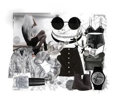 """""""Silver Grunge"""" by oneeyekitten ❤ liked on Polyvore featuring AG Adriano Goldschmied, H&M, Dr. Martens, Monki, McQ by Alexander McQueen, OPI, Charlotte Russe, Alex and Chloe, Alexander McQueen and Topshop"""