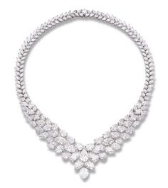 AN IMPORTANT DIAMOND NECKLACE Of V-shaped design, the pear-shaped and marquise-cut graduated diamonds to the marquise-cut diamond backchain, mounted in platinum, 40.0 cm long With twenty-six reports from the Gemological Institute of America stating the diamonds range from 0.91 to 3.02 carats, D to G colour, VS1 to SI2 clarity