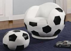 Bean Bag Chair for Children or Kids Soccer Ball Sports Themed Bean Bag ...