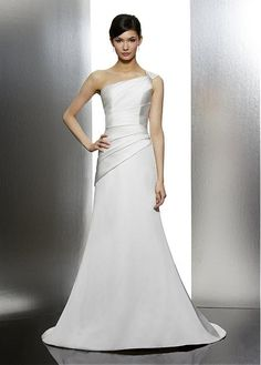 PERFECT SATIN TRUMPET BEADED ONE SHOULDER CAP SLEEVE PLEATED BRIDAL GOWN LACE FORMAL PROM PARTY